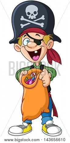 Halloween kid in a pirate costume holding trick or treat bag full of candy