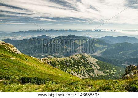Mountain landscape from hill Chopok in Low Tatras. Slovakia