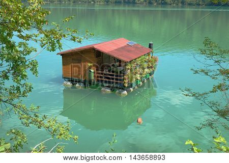 floating home on Drina River, Serbia