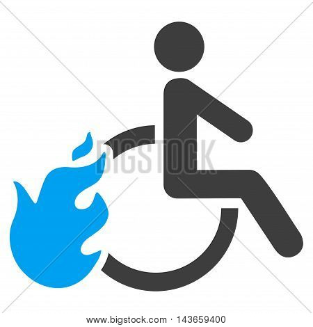 Fired Disabled Person icon. Vector style is bicolor flat iconic symbol with rounded angles, blue and gray colors, white background.