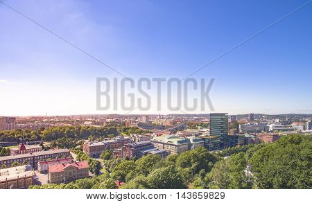 Aerial view over Gothenburg City in Sweden.