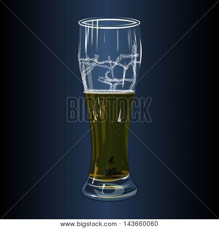 beer glass on dark background vector illustration