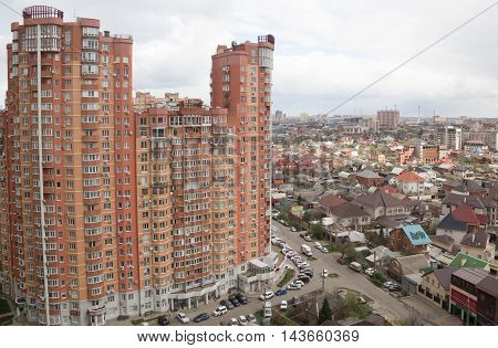 KRASNODAR, RUSSIA -  FEBRUARY 12, 2016 : top View of the city of Krasnodar . Krasnodar a major regional city in the South of Russia
