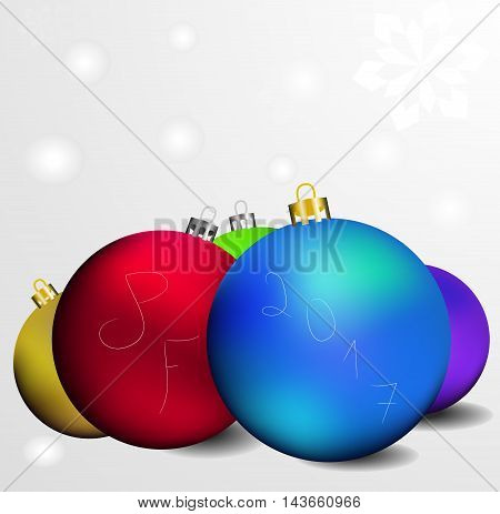 This is vector greeting card with inscription pf 2017 and a few colored christmas globes.
