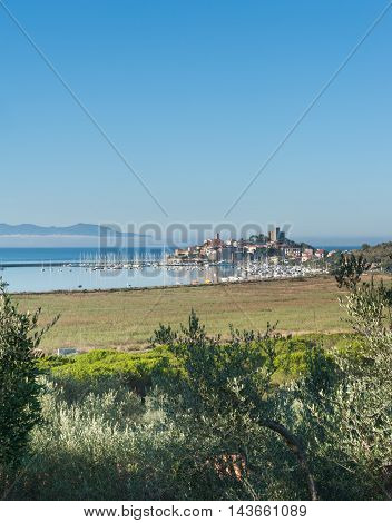 Talamone Village In Italy, Landscape View