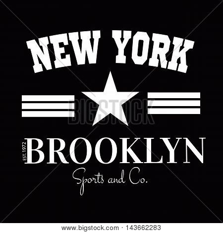Varsity New york Brooklyn college university division team sport baseball label typography, t-shirt graphics for apparel.