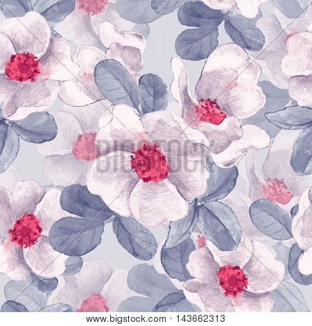 Background with white flowers. Seamless floral pattern 4.