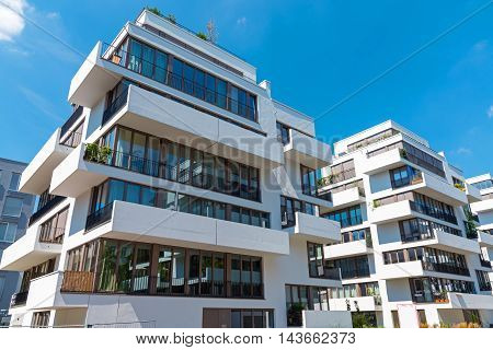 Modern townhouse with many balconies seen in Berlin, Germany