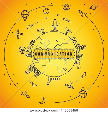 Linear Communication Icons with World Globe Design