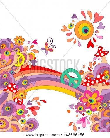 Hippie summery background with abstract colorful flowers, mushrooms, peace symbol and rainbow