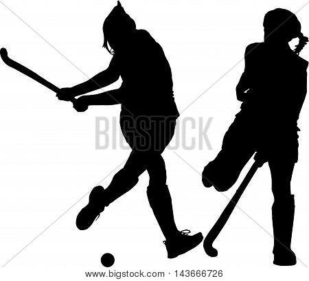 Silhouette Of Girl Ladies Hockey Players Hitting And Blocking Ball