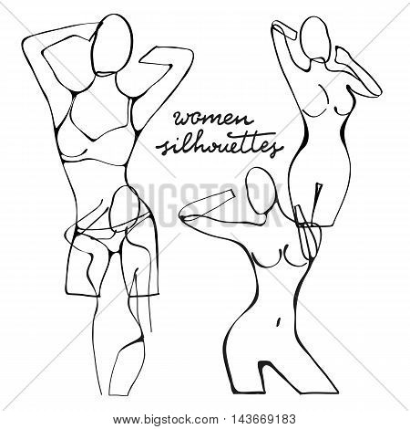 Beautiful black and white nude woman silhouettes. Illustration in vector format