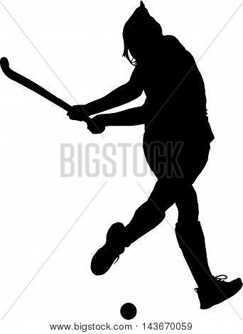 Silhouette Of Girl Ladies Hockey Player Hitting Ball