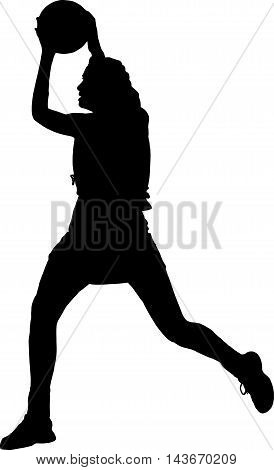 Silhouette Of Girls Ladies Netball Player Catching Throwing Ball