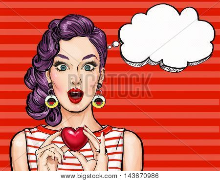 Pop Art woman hold heart with thought bubble. Comic woman. Sexy .Pop Art love. Valentines day postcard. Wow, club girl, gift, fashion, look, hipster, girlfriend, face, wonder, temptation, red lips,