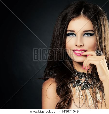 Beautiful Lady with Makeup and Jewelry Ring and Necklace