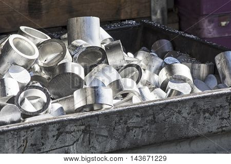 Heap of Aluminum for Recycling in a container