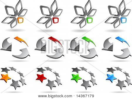 Abstract 3d vector icons such logos.