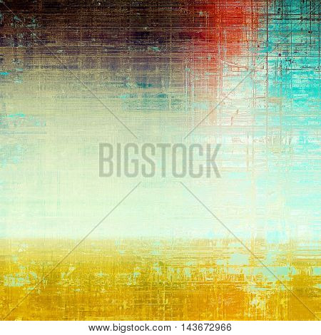Abstract vintage background with faded grungy texture. Aged backdrop with different color patterns: yellow (beige); blue; red (orange); purple (violet); white; cyan