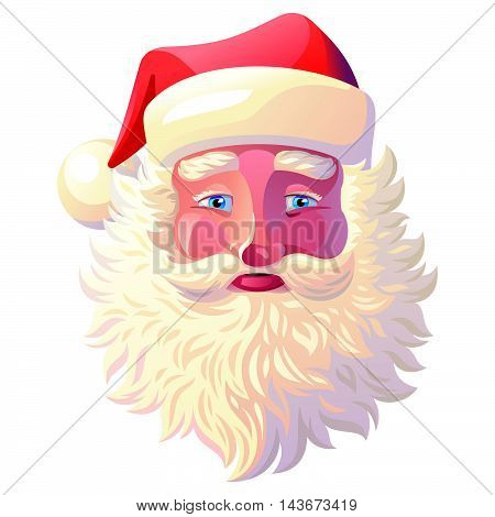 Vector illustration background of Santa Claus on a White Background. Postcard, Greeting Card, Poster, Banner