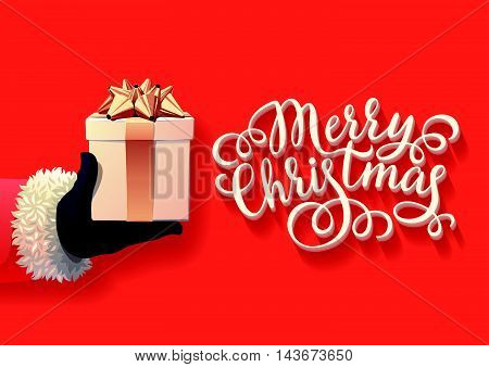 Vector illustration of Santa Holding Christmas Gift. Postcard, Greeting Card, Poster, Banner