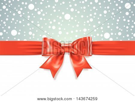 Vector illustration of Red Gift Bow on white and snowfall background