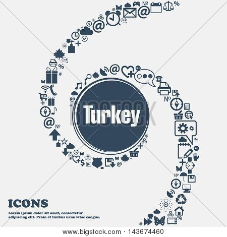 Turkey Icon In The Center. Around The Many Beautiful Symbols Twisted In A Spiral. You Can Use Each S