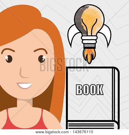 woman books idea reading vector illustration design