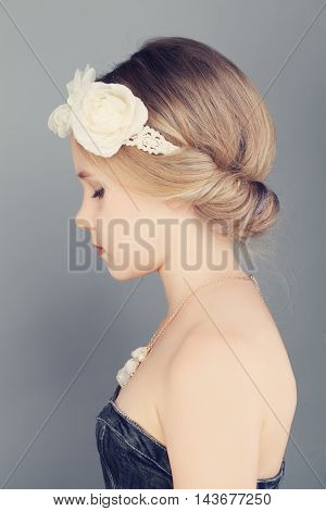 Young Girl. Profile. Blonde Hair with Bohemian Boho Chic Hairstyle
