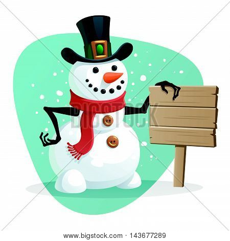 Vector illustration of Snowman with blank sign