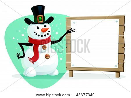 Vector illustration of Snowman with blank sign.