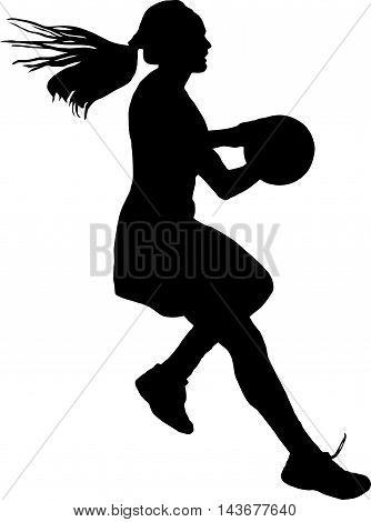 Silhouette Of Girls Ladies Netball Player Running With Ball