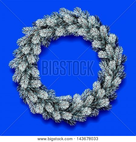 Vector illustration of detailed Christmas wreath on blue background