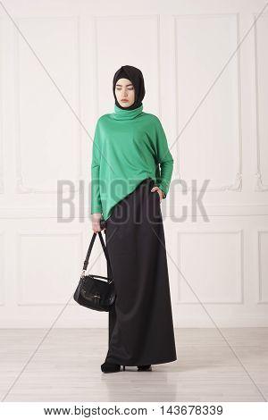 beautiful Muslim woman in the modern Islamic clothing Kazan