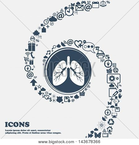 Lungs Icon In The Center. Around The Many Beautiful Symbols Twisted In A Spiral. You Can Use Each Se