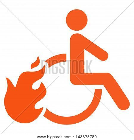 Fired Disabled Person icon. Vector style is flat iconic symbol with rounded angles, orange color, white background.