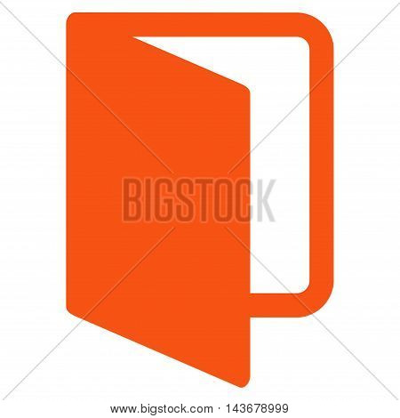 Open Door icon. Vector style is flat iconic symbol with rounded angles, orange color, white background.