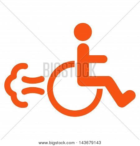 Patient Movement icon. Vector style is flat iconic symbol with rounded angles, orange color, white background.