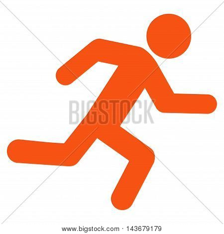Running Man icon. Vector style is flat iconic symbol with rounded angles, orange color, white background.