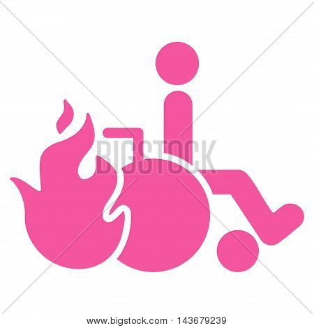 Burn Patient icon. Vector style is flat iconic symbol with rounded angles, pink color, white background.