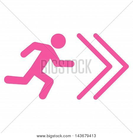 Exit Direction icon. Vector style is flat iconic symbol with rounded angles, pink color, white background.