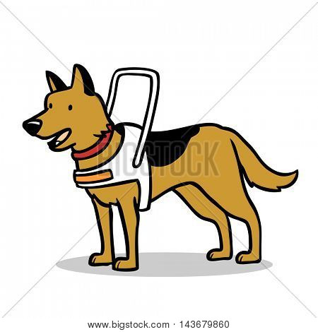 Cartoon german shepherd guide dog with harness