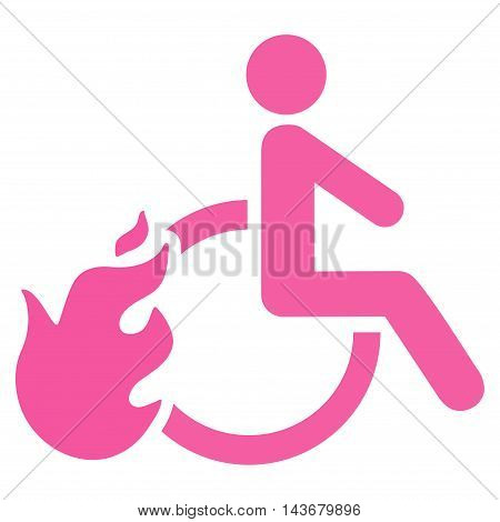 Fired Disabled Person icon. Vector style is flat iconic symbol with rounded angles, pink color, white background.