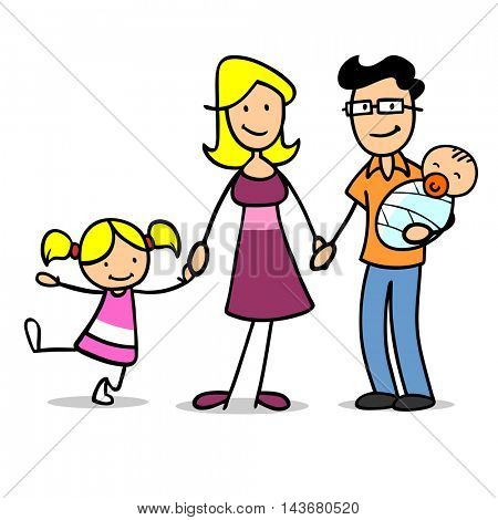 Happy cartoon family with baby and girl