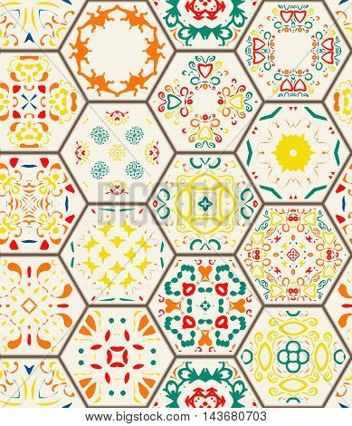 Seamless pattern. Vintage decorative elements. Hand drawn background. Islam Arabic Indian ottoman motifs. Perfect for printing on fabric or paper. Hexagon tile design.