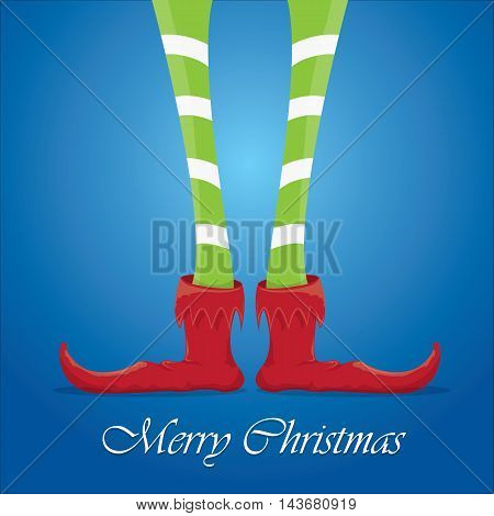vector creative merry christmas greeting card, christmas cartoon elfs legs