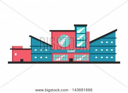 Clinic building. Flat vector illustration. Constructivism style. Modern architecture. Bright design