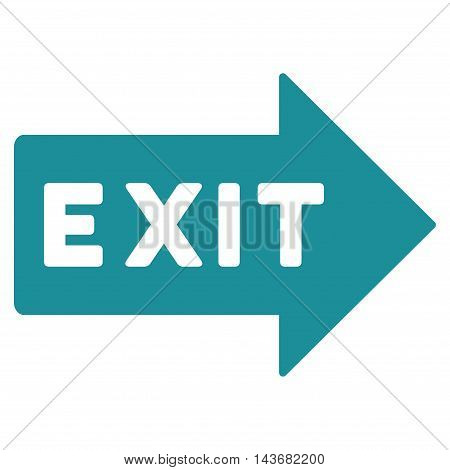 Exit Arrow icon. Vector style is flat iconic symbol with rounded angles, soft blue color, white background.