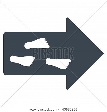 Exit Direction icon. Vector style is flat iconic symbol with rounded angles, smooth blue color, white background.