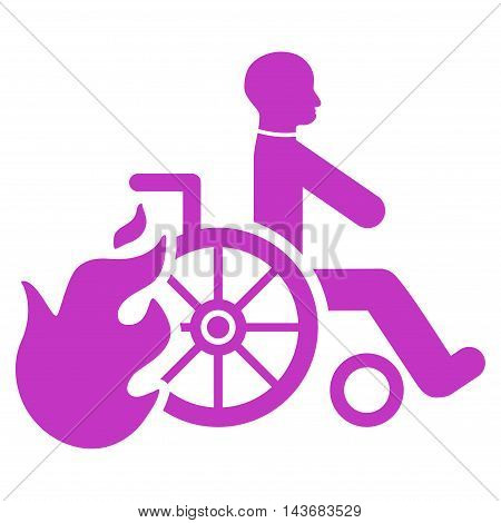 Burn Patient icon. Vector style is flat iconic symbol with rounded angles, violet color, white background.